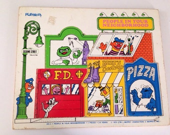1974 Playskool Seasame Street People in Your Neighborhood Wood Puzzle