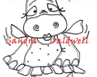 911 Fairy Hippo Digi Stamp  ON SALE