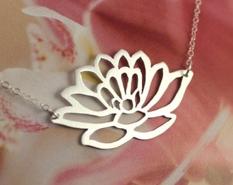 Lotus necklace - sterling silver, cutout, saw-pierced, satin brushed finish