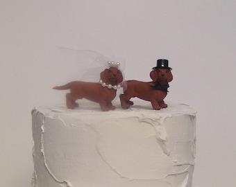 Dachshund Wedding Cake Topper, Animal Cake Topper, Dog Lover Cake Topper