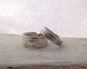Sterling silver birch bark wedding bands