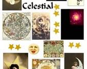 SALE Celestial sky stars vintage moon map images Digital Collage Sheet GreatMusings No.112