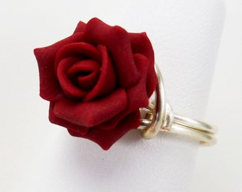 Rose Sterling Silver Wrapped Ring