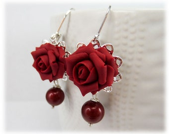 Red Rose Pearl Earrings - Red Rose Pearl Jewelry, Red Flower Earrings