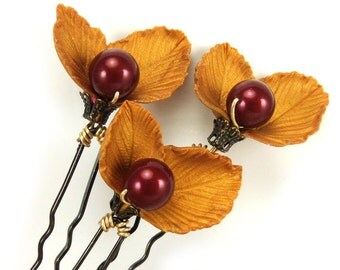 Golden Leaf Berry Hair Pins - Autumn Wedding Hair Accessories, Rustic Wedding Hair Pins, Autum Leaves Hair Pins