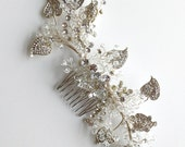 SALE / Crystal & Pearl Hair Comb / DIY Bride / Silver Wedding Hair Accessory