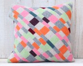 Wool  Patchwork Pillow Cover in Orange Pink Gray and Greens