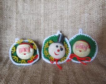 Vintage Trio Of Handmade Christmas Ornaments