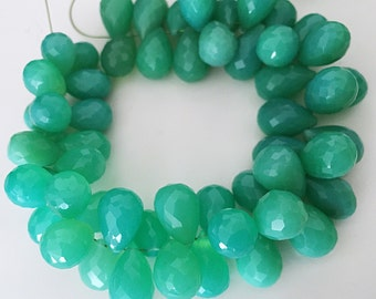 Crysoprase  colored large chalcedony briolette tear drops WHOLESALE PRICE 20.00