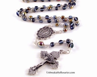 Virgin of Guadalupe Rosary Beads In Sapphire Marea Czech Glass Beads By Unbreakable Rosaries