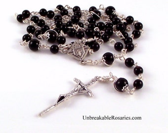 Knights of Columbus Rosary Beads For Men in Black Onyx by Unbreakable Rosaries