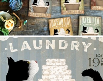 Tuxedo Cat Laundry Company basket illustration graphic art on gallery wrapped canvas by stephen fowler