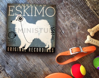 American Eskimo Eskie dog records album recording Company music graphic art on canvas panel by stephen fowler Pick A Size