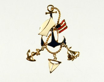 Vintage Anchor Pin, with Sailor Hat and Charms, USA Flag, Large Chunky Pin Brooch, Nautical Jewelry, Great for Summer! Unique Enameled Pin