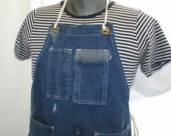 60s Vintage Blue Denim Apron KWB MFG. Co Work apron made in USA apron denim Kitchen Garden men and women