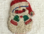 Vintage Handmade Beaded and Sequined Santa Claus Christmas Ornament or Small Wall Hanging #2