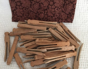 Vintage Wooden Clothes Pins- 36 of them in Fabric Drawstring Bag in Great Fall Fabric