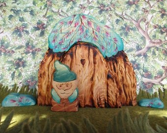 Waldorf Wooden Fairy Door, Gnome Door, Kids Wood Toy, 4 piece set includes Door, Large bushy archway, 2 small bush clumps
