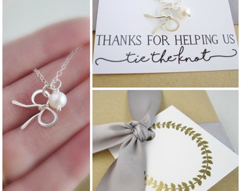 Bow necklace Tie the knot necklace Silver bow charm Pearl necklace Bridesmaid necklace Silver necklace Bridesmaid card Thank you gift