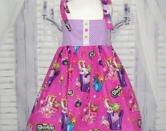 Purple Girl Dress  Made with Shopkins Fabric,  Party Dress , Girls Dresses,  Girl Sun Dress, Hot Pink  Girl Dress, Party Dress
