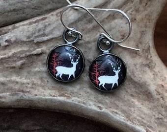 Deer, Glass, Sterling Silver - Earrings