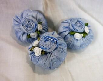 French Silk Lavender Cushions/Sachets- Set off 3 Handmade  Ice Blue Silk