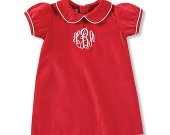 Custom Monogrammed Infant Red Fine Wale Corduroy Dress for Christmas and Holidays