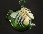 Glass Globe Terrarium with Facehugger in Emerald Green & English Ivy, Ready to Ship #227