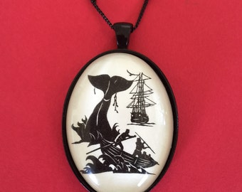 Sale 20% Off // Moby Dick Necklace - pendant on chain - Silhouette Jewelry // Coupon Code SALE20