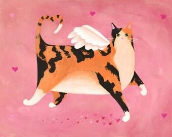 Calico Cupid Cat - Original Whimsical Folk Art Painting