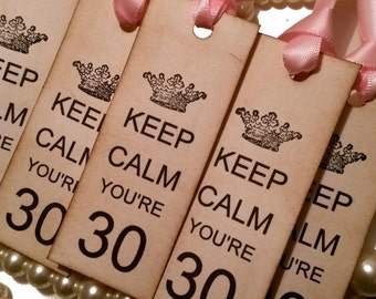 Keep Calm You're 30, Keep Calm Tags, Crown Birthday Tags,  Pink Keep Calm Tags, Vintage Gift Tags, 40th birthday tags, 50th birthday tags