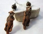 otter lover gift - otter jewelry - sea otter earrings - You otter sea these earrings - abalone too - gwynstone handmade