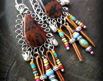 Mahonany Obsidian, Tribal, Leather, Fringe, South Western, Country, Rustic, Primitive, Organic, Beaded Earrings