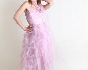 ON SALE Vintage 1950s Prom Dress - Lavender Wedding Strapless Bride Dress - Small Radiant Orchid