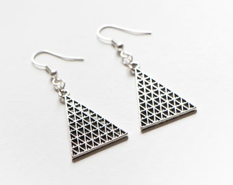 Lattice Triangle Earrings