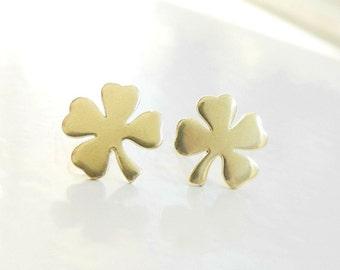 Shamrock Earring Studs, Four Leaf Clover Earrings, St Patricks Day, Brass Earrings, Shamrock Jewelry, Luck of the Irish, Sterling Silver