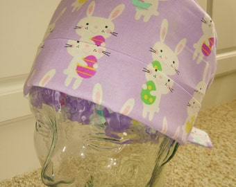 Tie Back Surgical Scrub Hat with Lavender Easter Bunny with Eggs