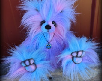 Pastel Puff KIT - make your own 12IN pink purple and blue faux fur artist bear