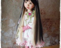 Super Long Black With Blonde Wig For BJD's / Blythe Or Other Dolls With 9/10 head circumference