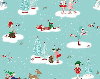 Christmas fabric, Pixie Noel fabric, Holiday fabric, Tasha Noel by Riley Blake, Cotton fabric by the yard, Pixie Main Aqua, Choose your cut