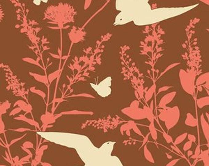 SALE fabric, Bird fabric, Brown Fabric, Boho fabric by Joel Dewberry fabrics, Swallow Study in Chestnut, Quilting fabric, Discount fabric