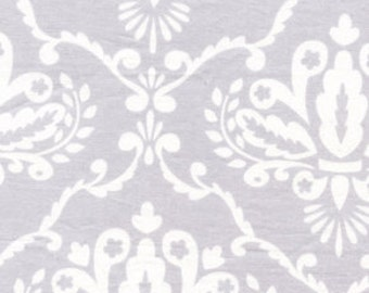 Leanika by Dena Designs for Free Spirit Fabrics Grey Damask Scroll Fabric By The Half Yard OOP RARE Destash