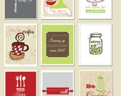 Kitchen Art, Set of 9 coordinating prints, mixer, whip it, whisk, cupcakes, funny art prints