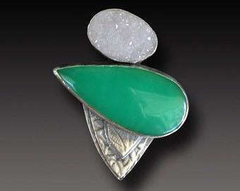 Chrysoprase Druzy ring Sterling Silver and Chrysoprase Ring