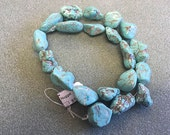 Freeform Natural Genuine Turquoise Nuggets Beads from Nevada #8 Mine Great Power Blue