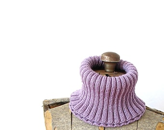 Cowl Scarf Wool Rib Knit Purple Lavender Cowl Winter Autumn Fall Holiday Gift