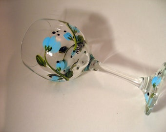 Hand Painted Blue Floral Wine Glass