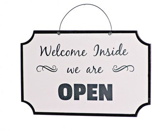 Open Closed Reversible Sign, Office Decor, Business Plaque, Shop Signage Store Front, Door Window Hanging, Welcome Notice, Double Sided Sign