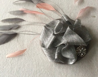 New handmade silver grey and pink sinamay feather fascinator