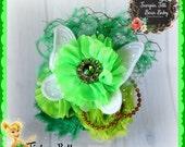 Tinker Bell inspired Glamour Bloom Hair Flower clip headband
